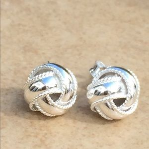 Sterling Silver 925 Twisted Love Knot Stud Earring